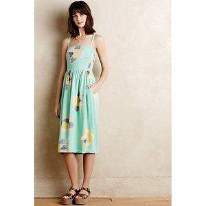 Anthropologie Sketchbook Midi Dress Mint Floral